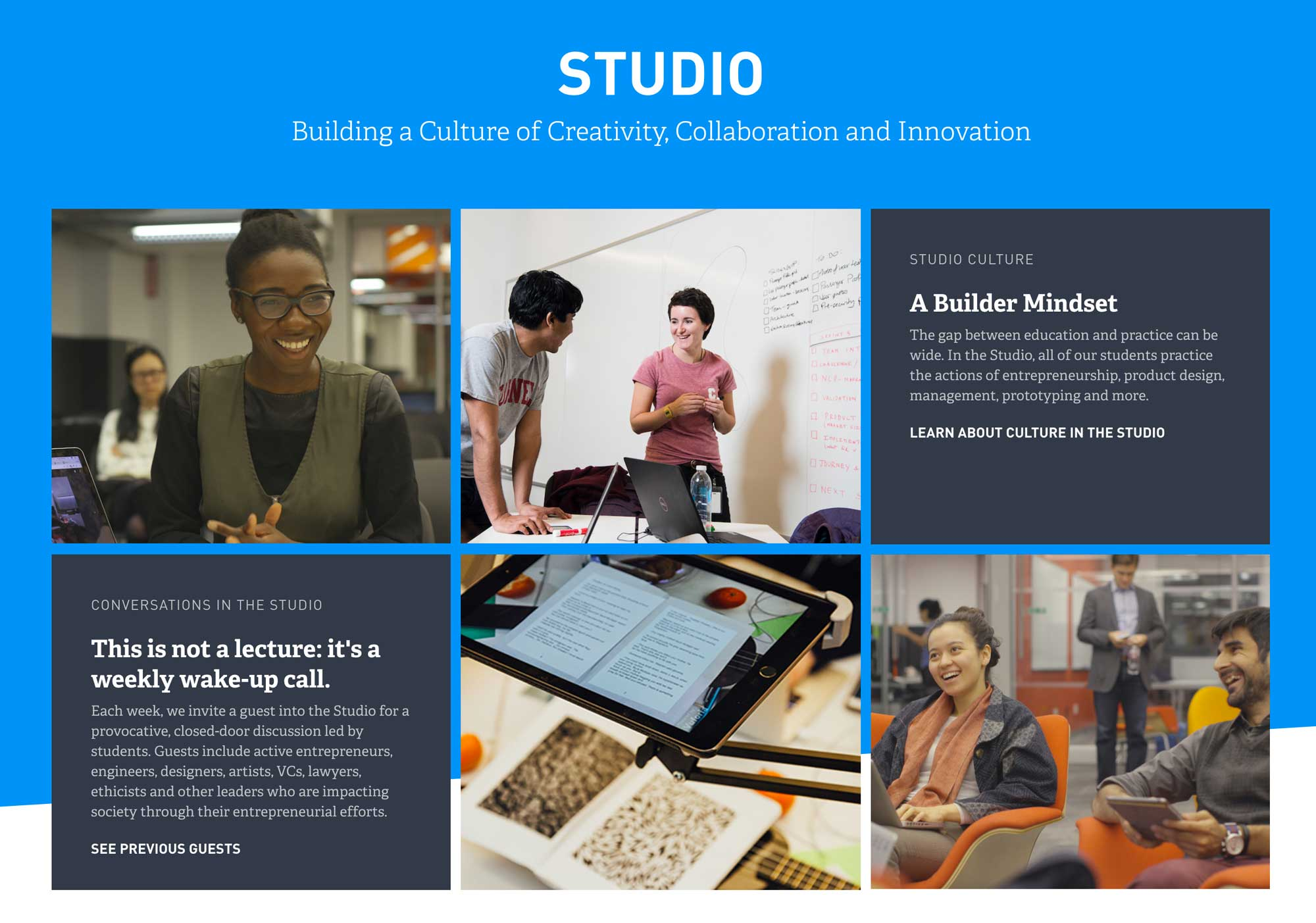 Screenshot of Cornell Tech website Studio page