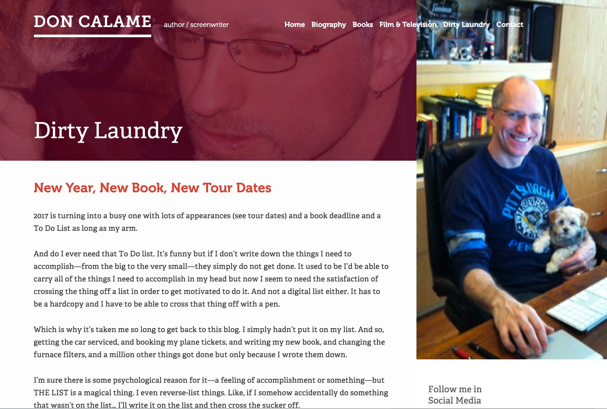 Screenshot of Don Calame's website blog entry