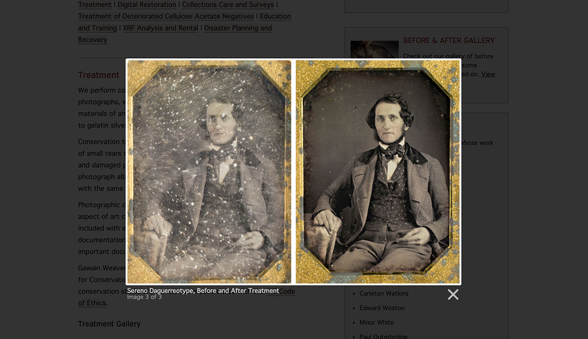 Screenshot of the gawainweaver.com photo restoration gallery