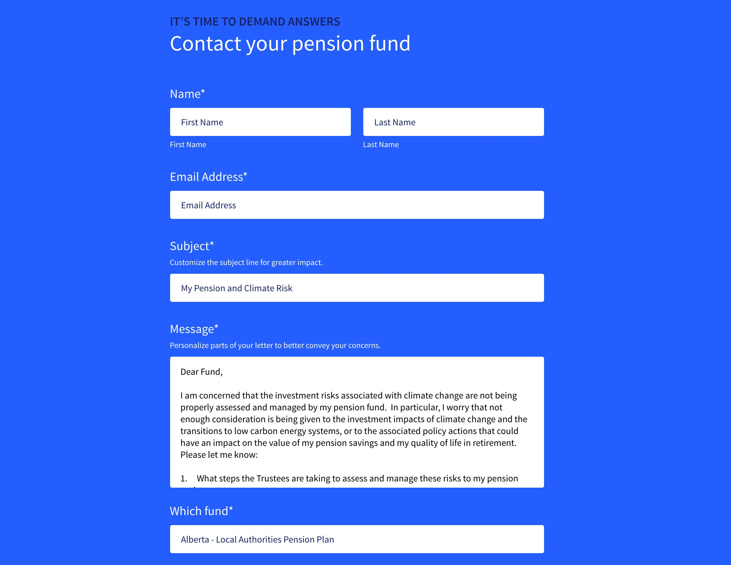 Screenshot of Pension Power website Contact page