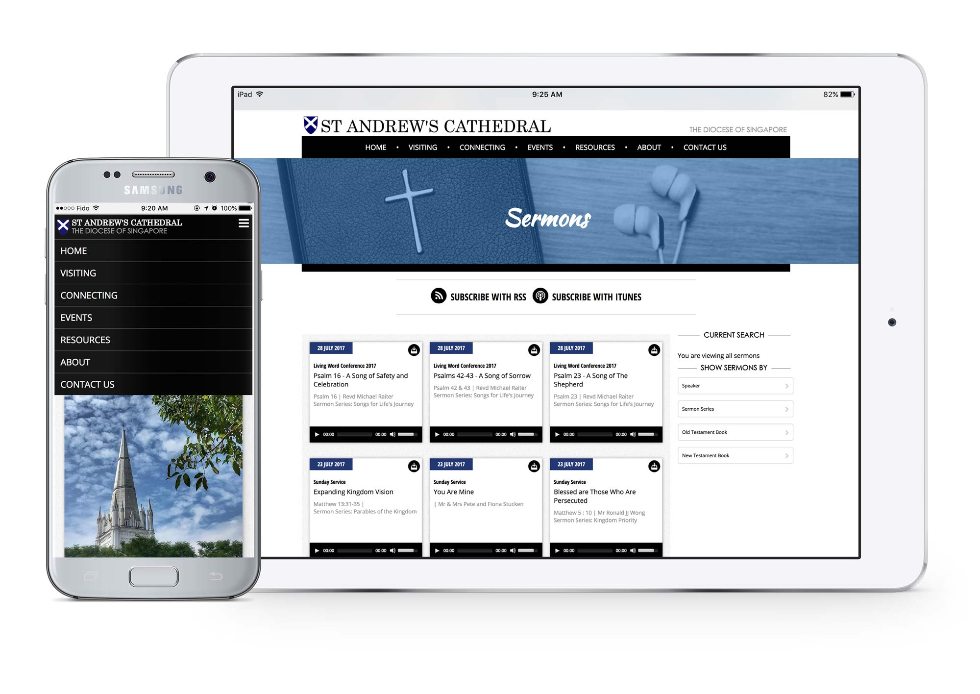 Screenshot of St. Andrew's Cathedral website on tablet and mobile