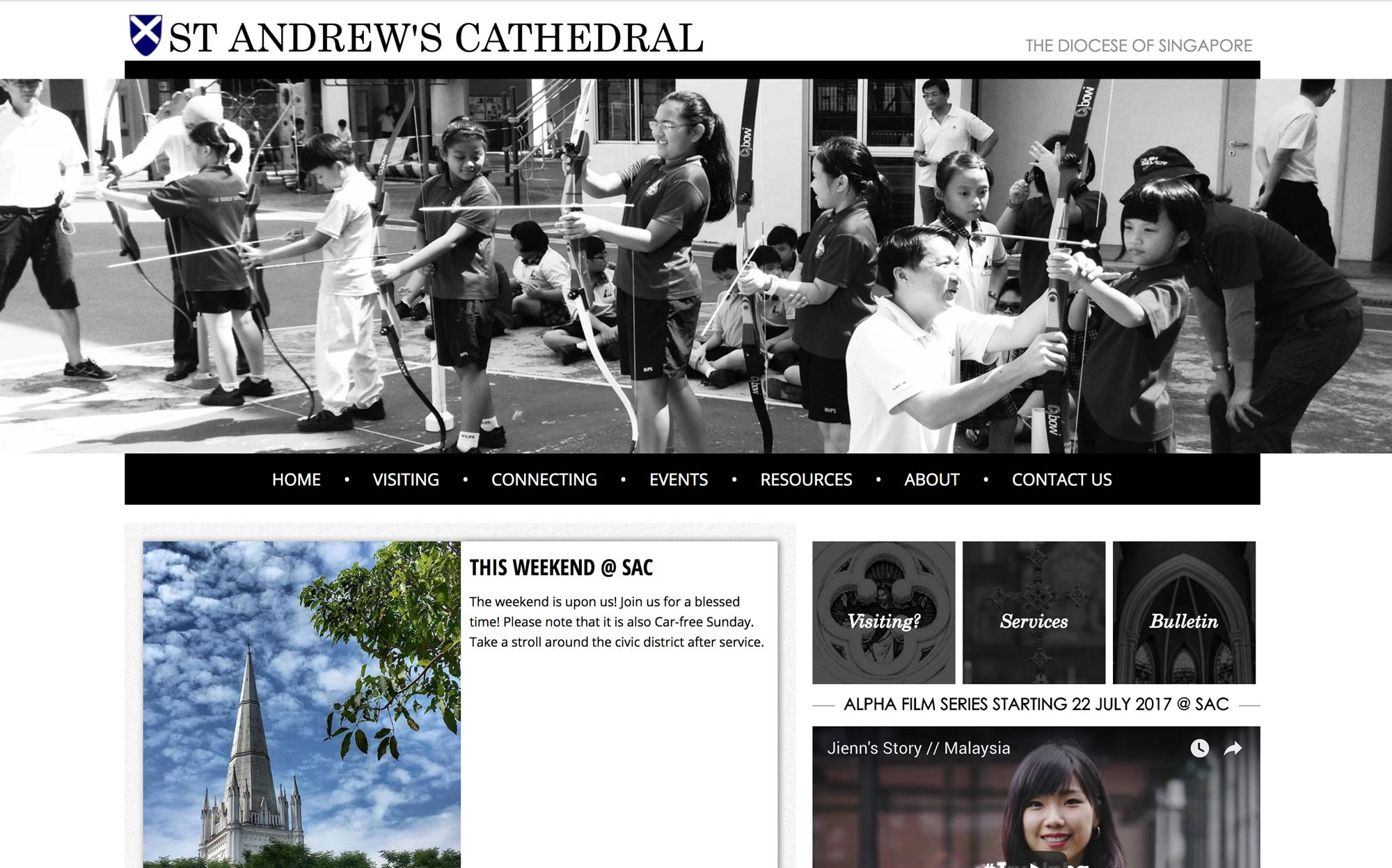Screenshot of St. Andrew's Cathedral website home page