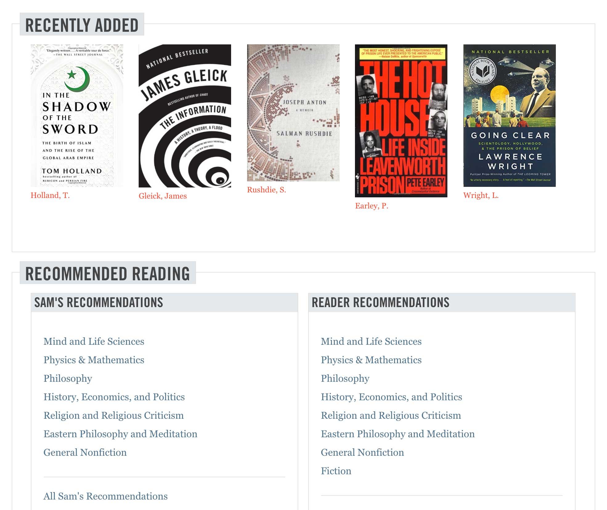 Screenshot of San Harris website book recommendations