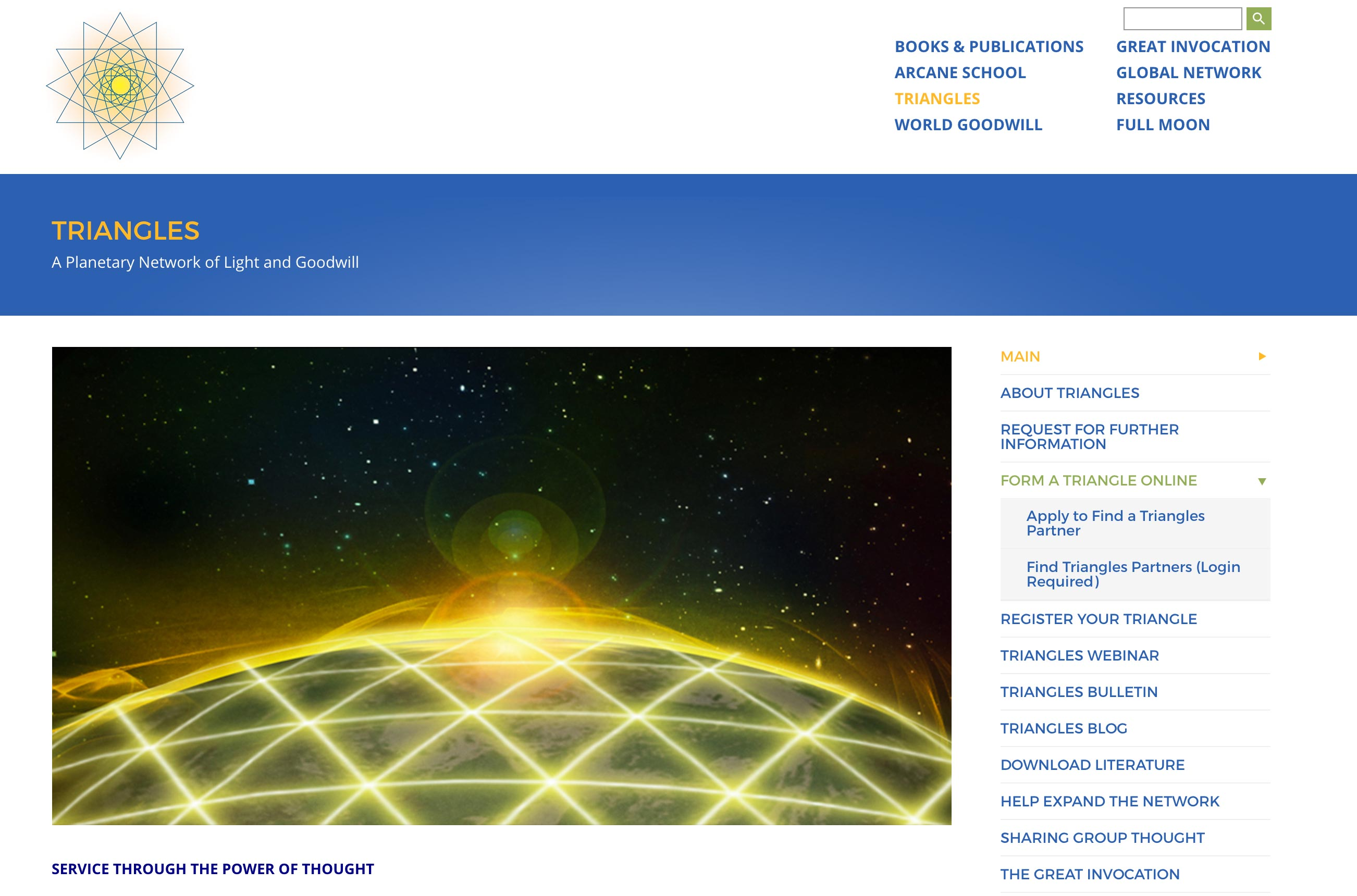Screenshot of The Lucis Trust website Triangles service page