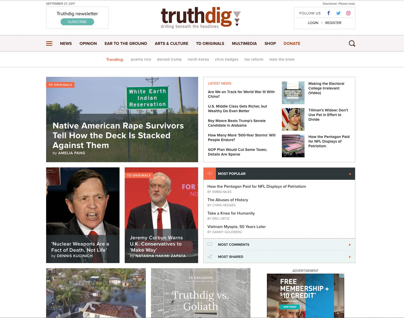 Screenshot of Truthdig website home page