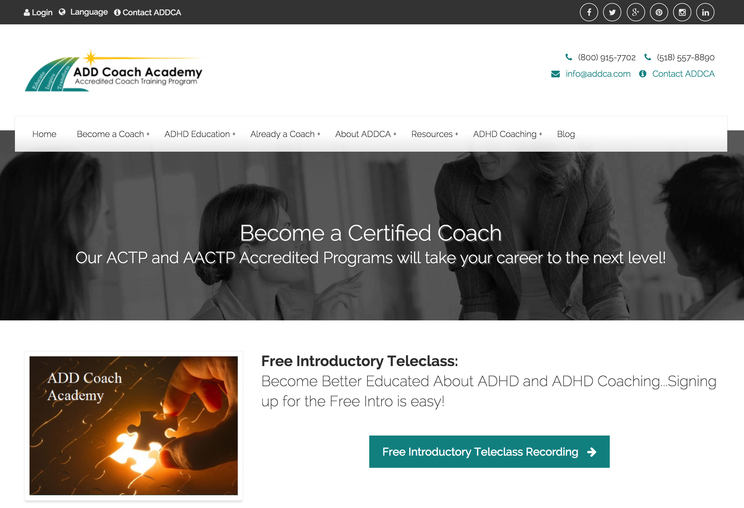 Screenshot of ADDCA website home page