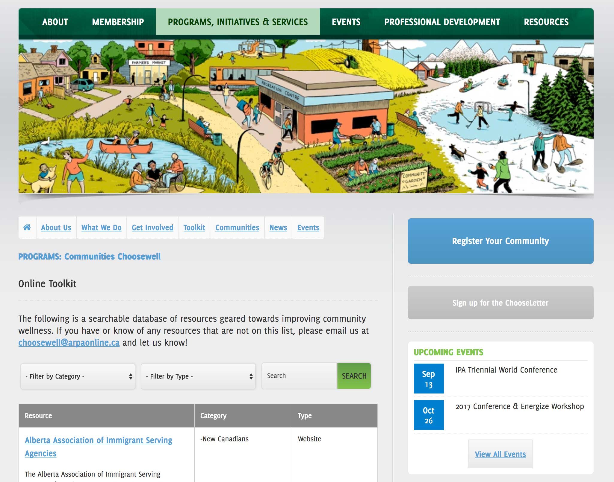 Screenshot of ARPA website Programs and Initiatives page