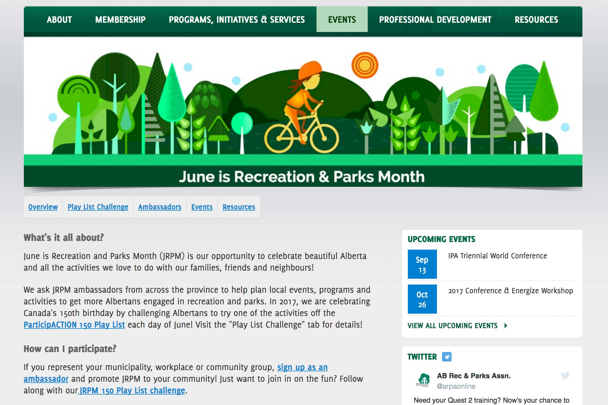 Screenshot of ARPA website Event page