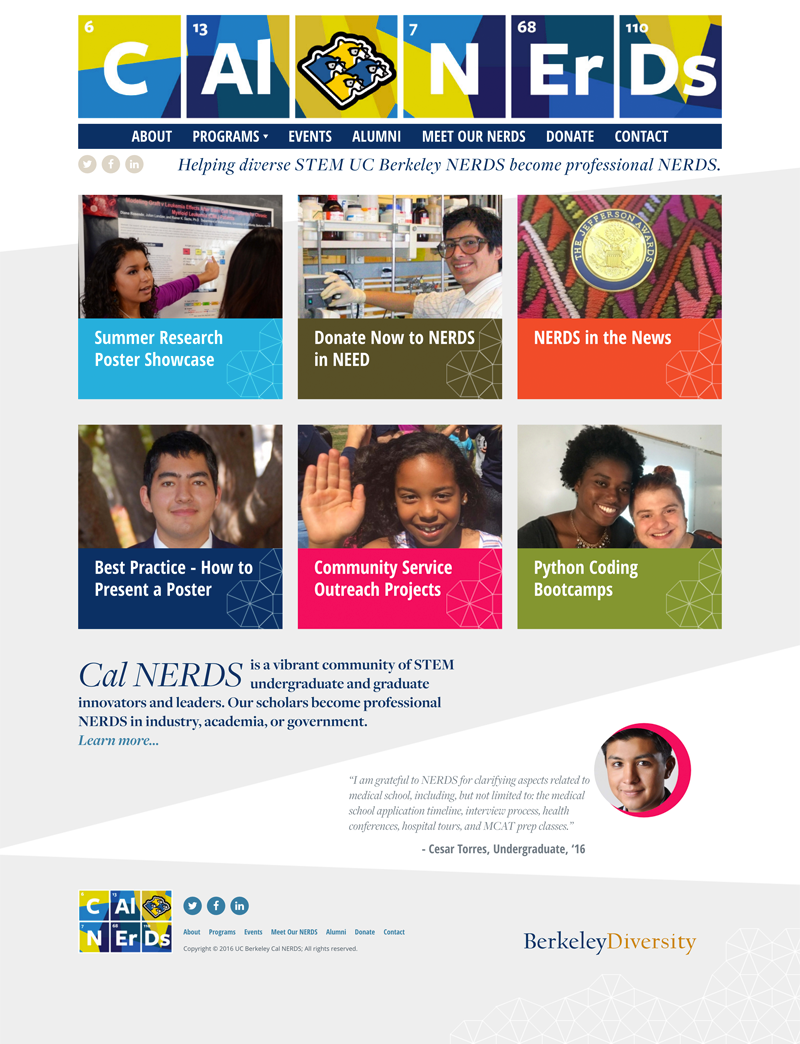 Screenshot of the redesigned Cal NERDs home page