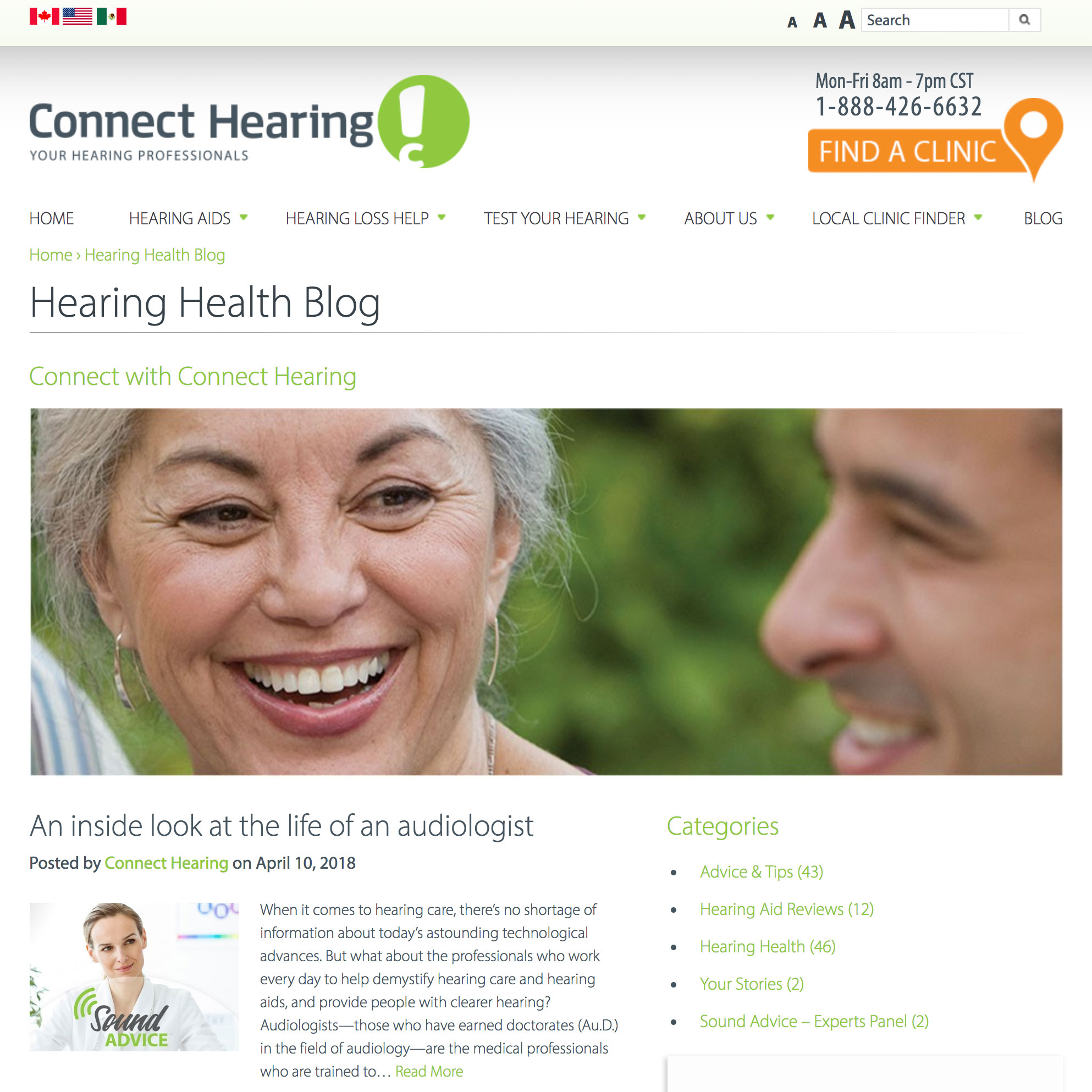 Screenshot of Connect Hearing website Hearing Health blog