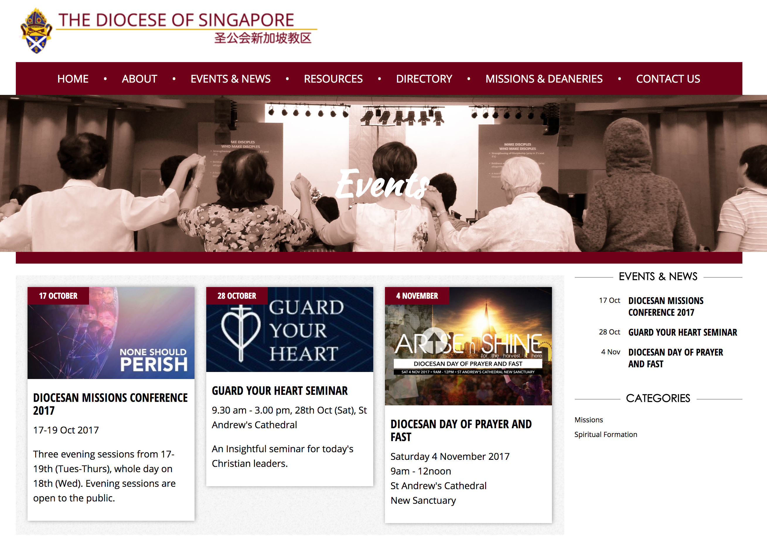 Screenshot of The Diocese of Singapore website Events page