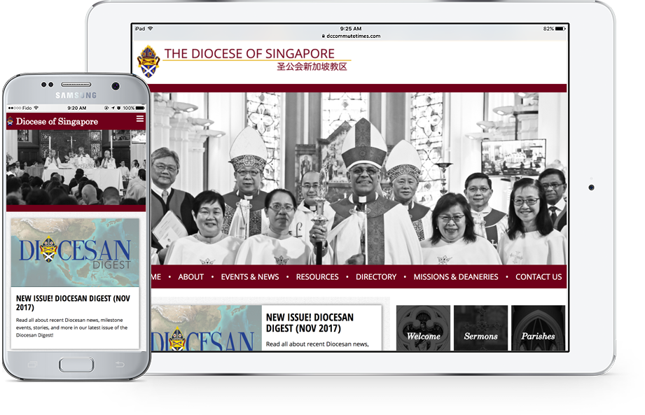 Screenshot of The Diocese of Singapore website on tablet and mobile
