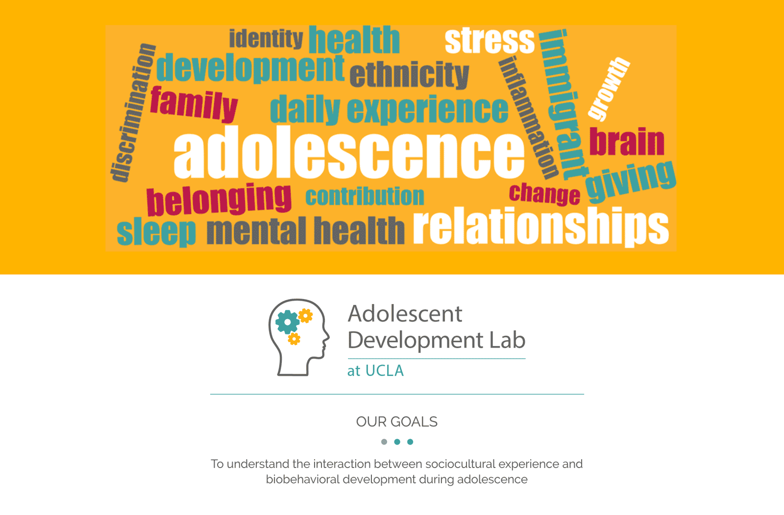 Screenshot of Adolescent Development Lab website home page