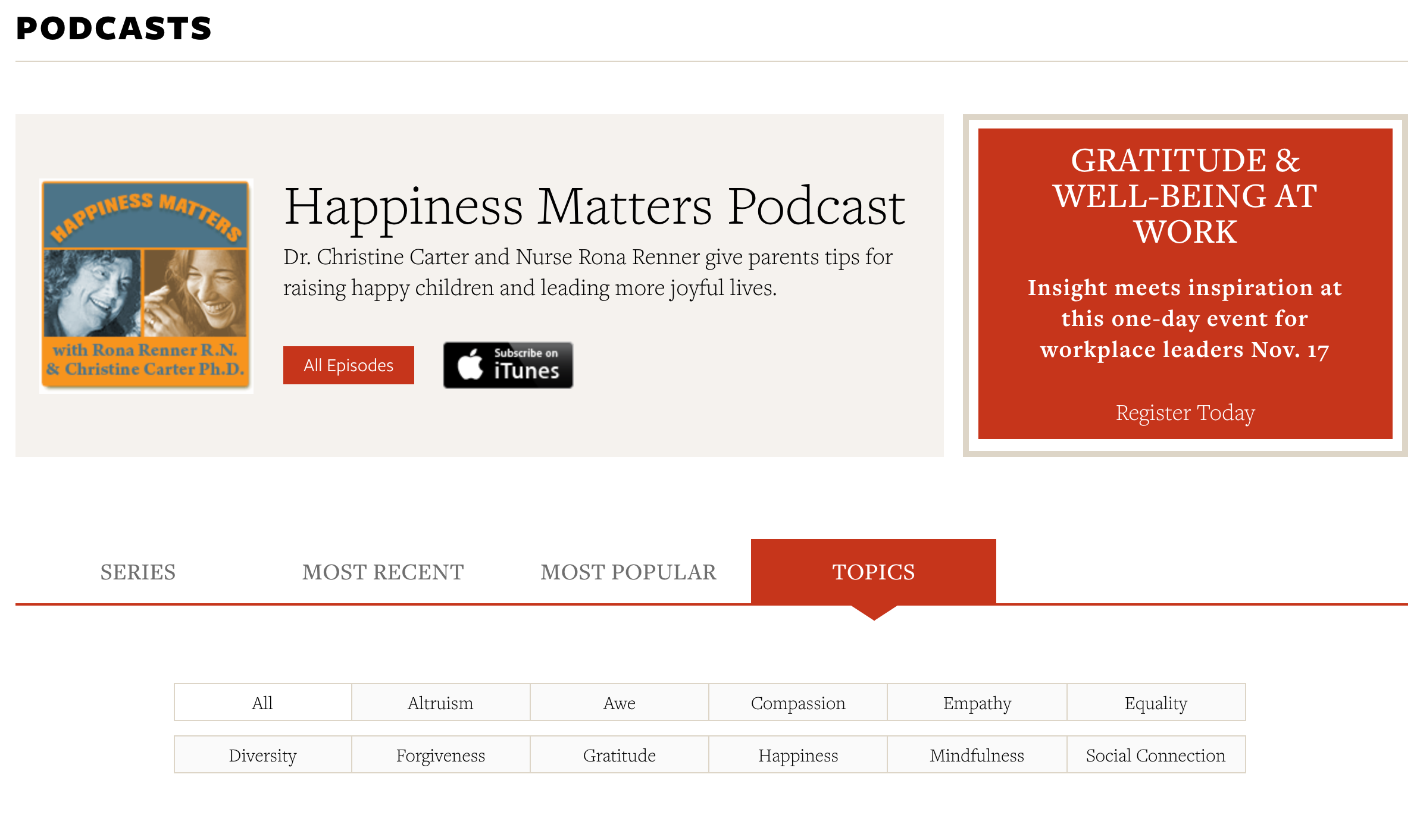 Greater Good Magazine podcast page screenshot