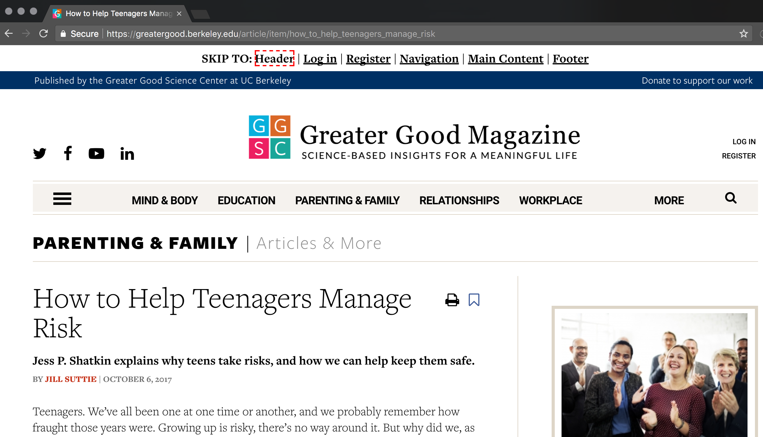 Greater Good Magazine skip navigation screenshot
