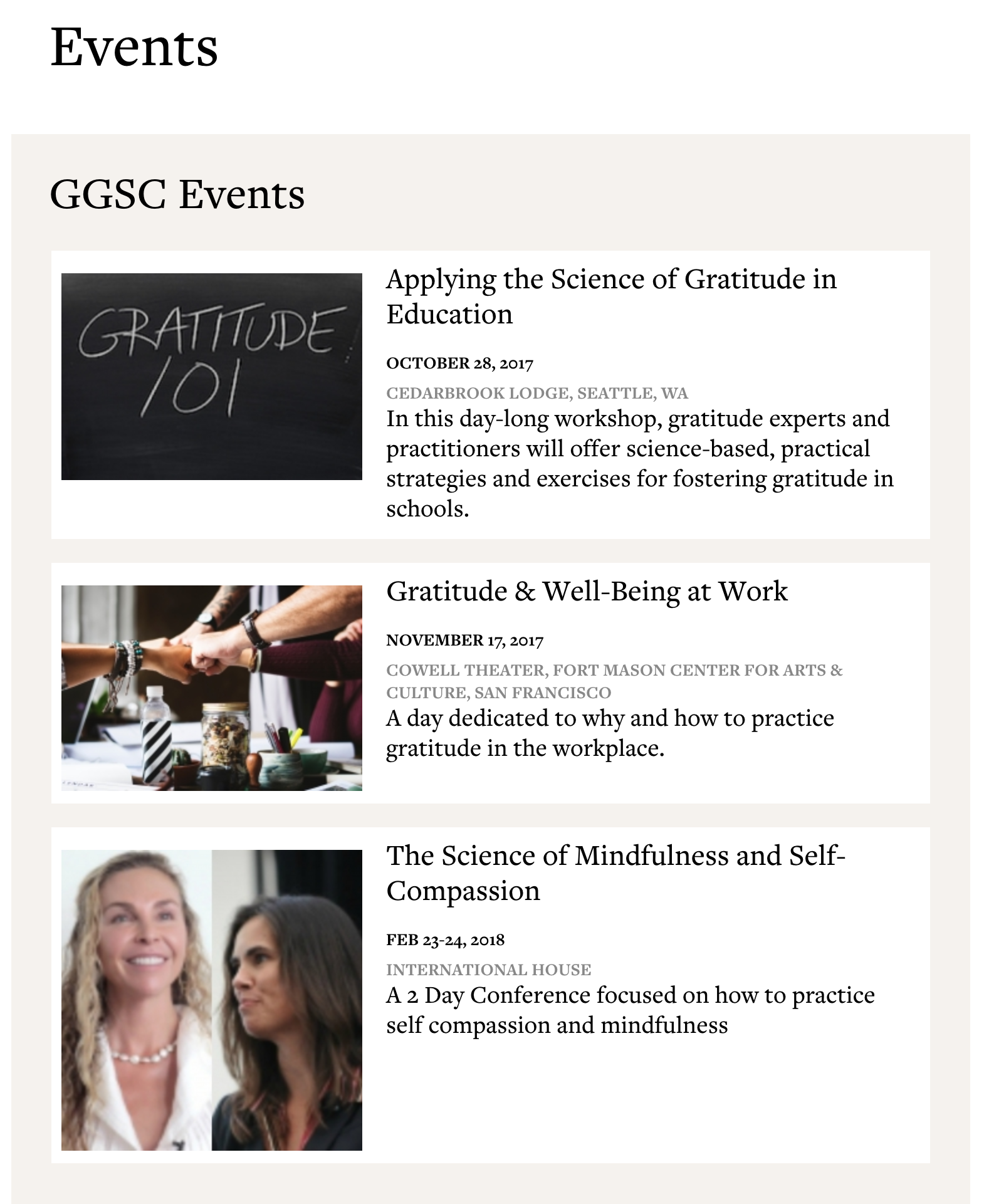 GGSC Events screenshot