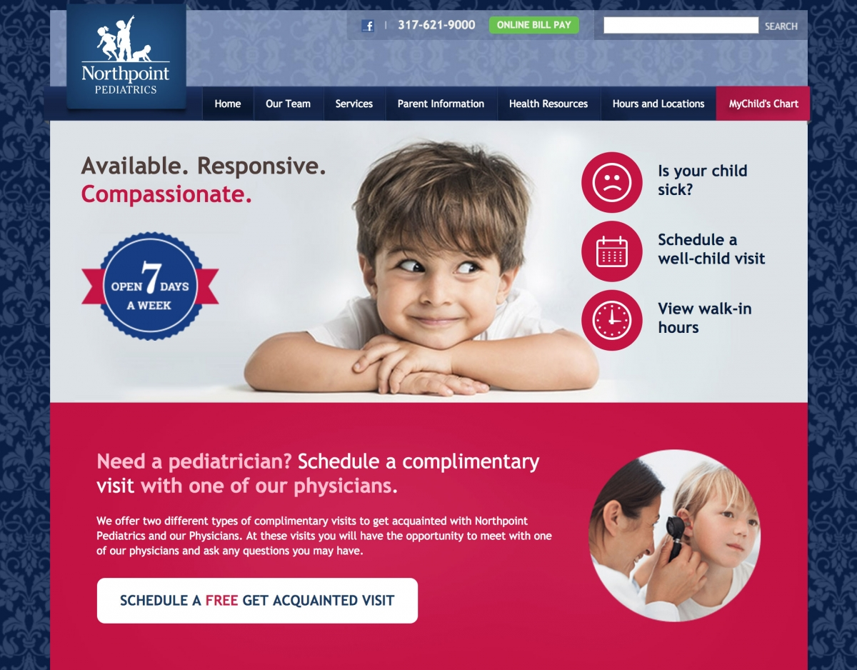 Screenshot of Northpoint Pediatrics Home Page