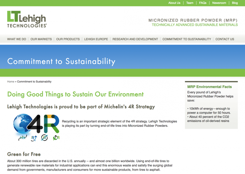 Screenshot: Lehigh Technologies Commitment to Sustainability Page