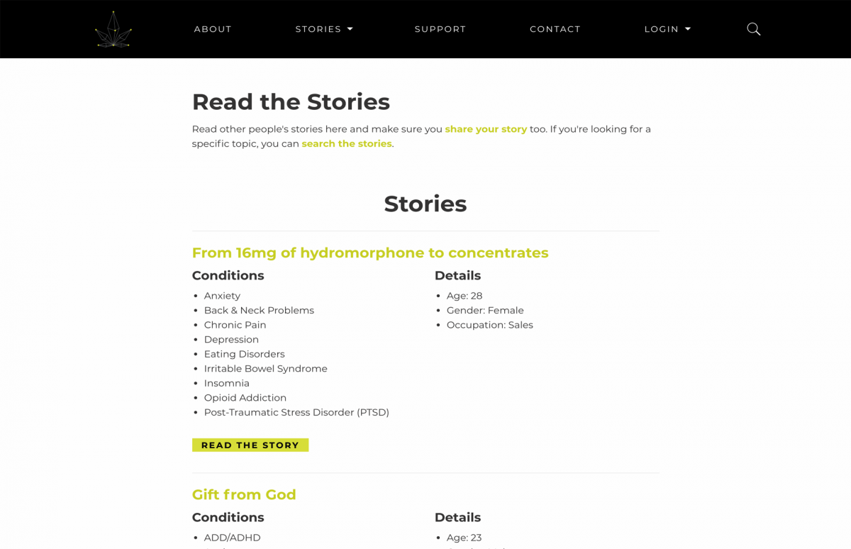 Screenshot of MTM's Read Stories page