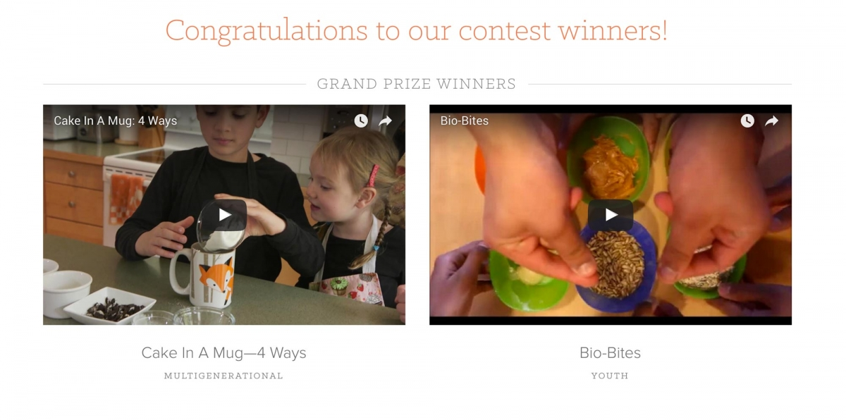 Screenshot of BCDairy website contest winners announcement