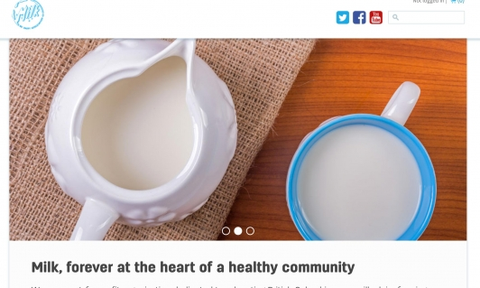 Screenshot of BCDairy website home page