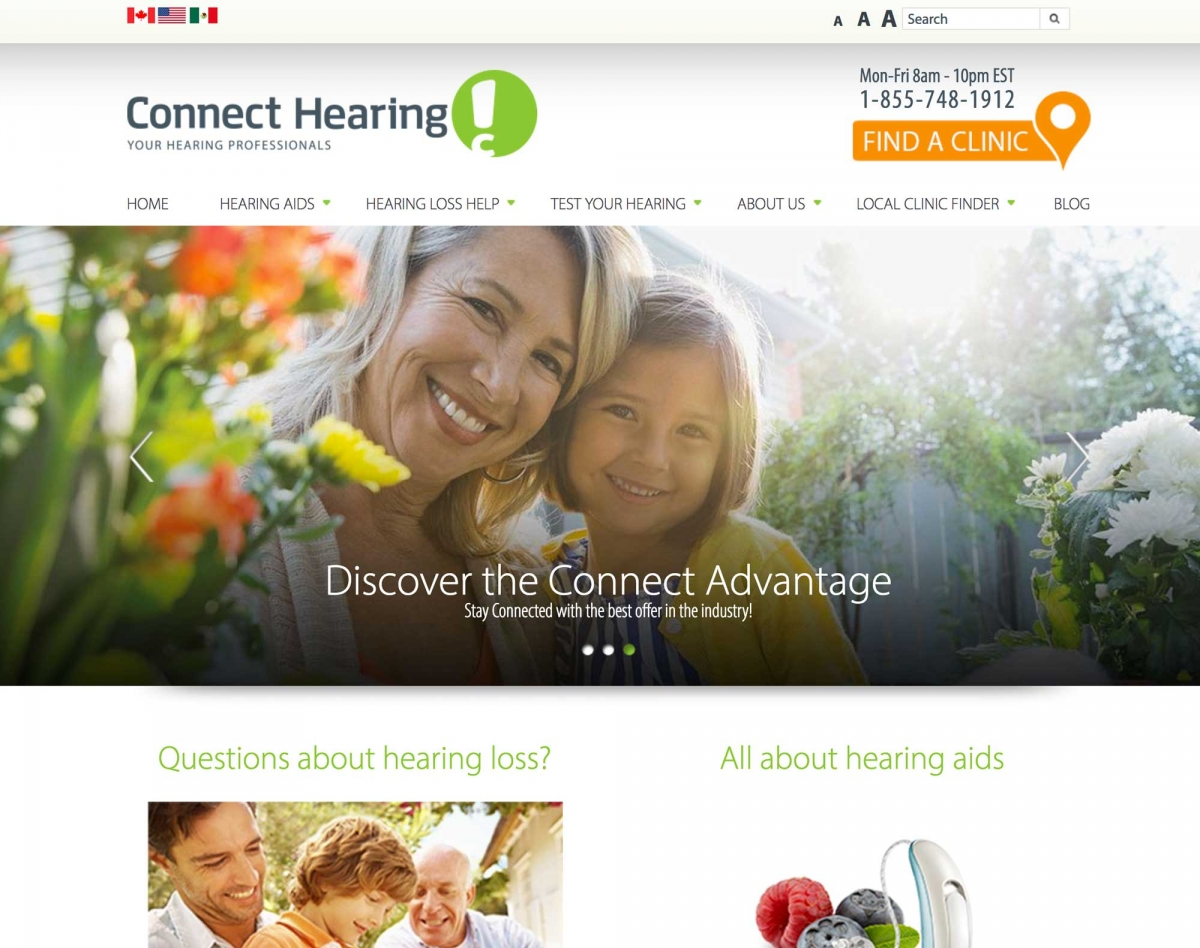 Screenshot of Connect Hearing website home page