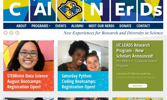 Screenshot of CalNERDs website home page