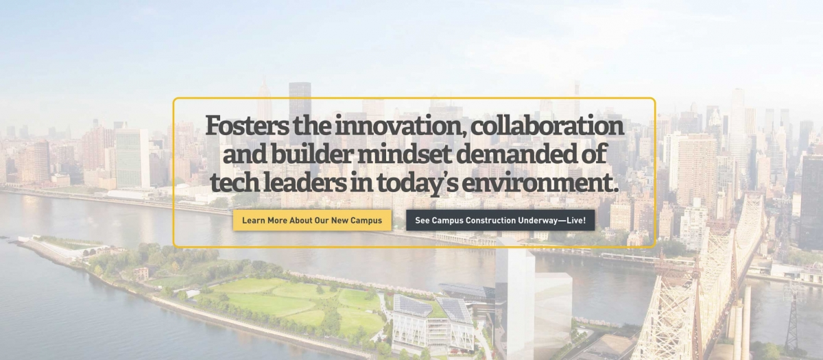 Screenshot of Cornell Tech website call to action