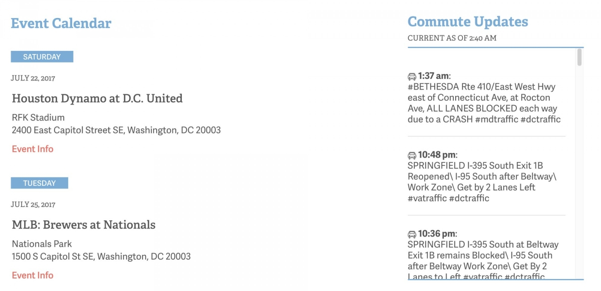 Screenshot of DC Commute Times website Events page