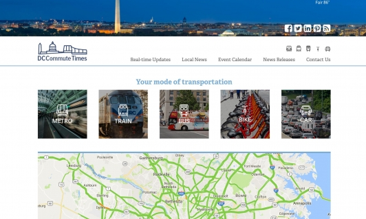 Screenshot of the DC Commute Times website, showing a map
