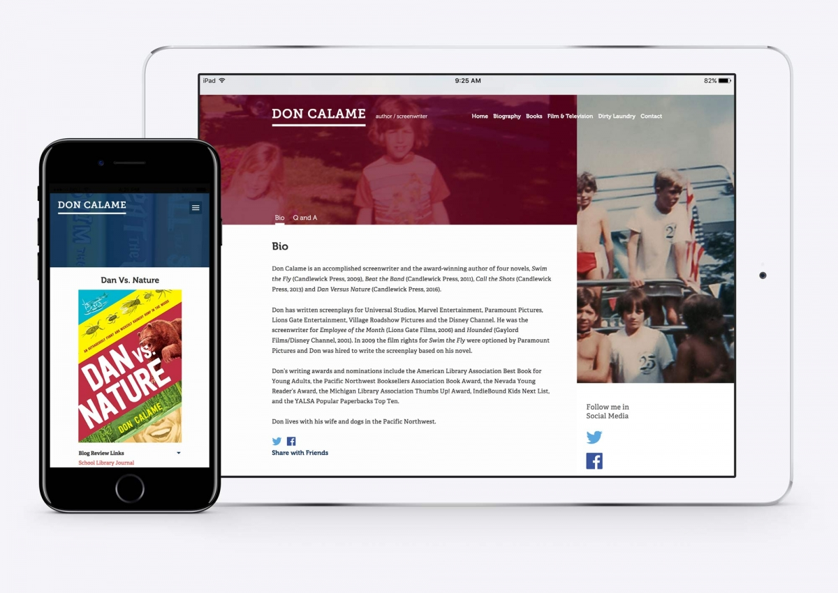 Screenshot of Don Calame's website on tablet and mobile