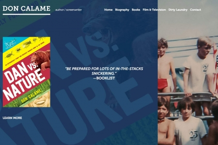 Screenshot of Don Calame's website home page