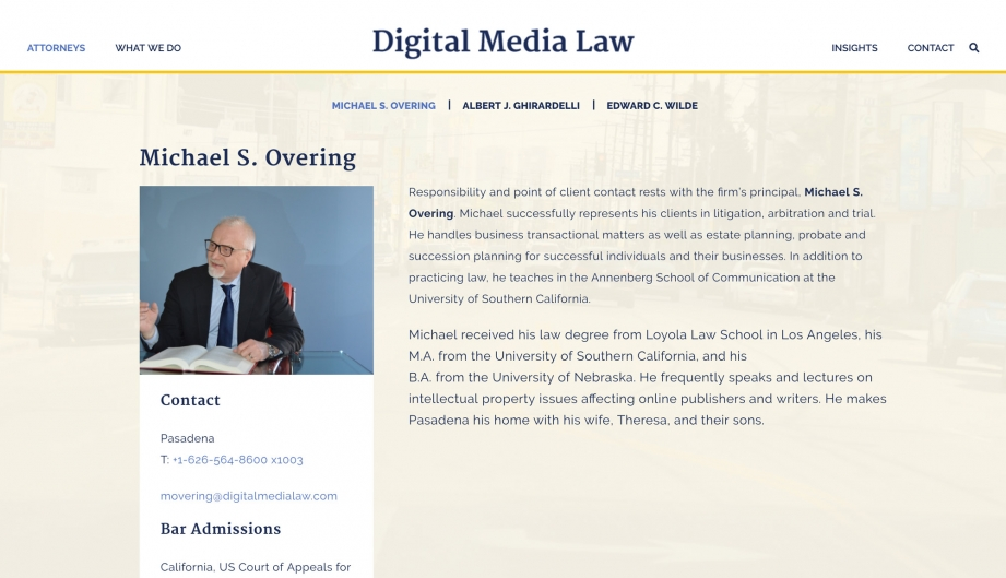Screenshot of Digital Media Law website Michael Overing's bio page