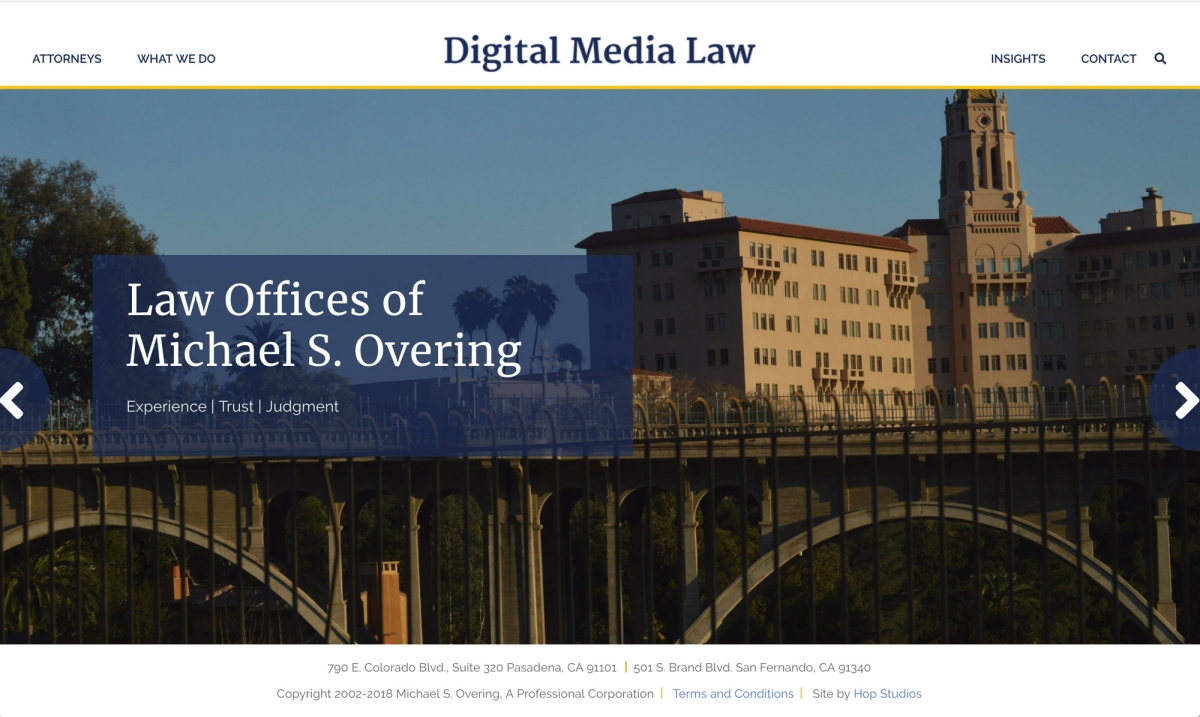 Screenshot of Digital Media Law website homepage