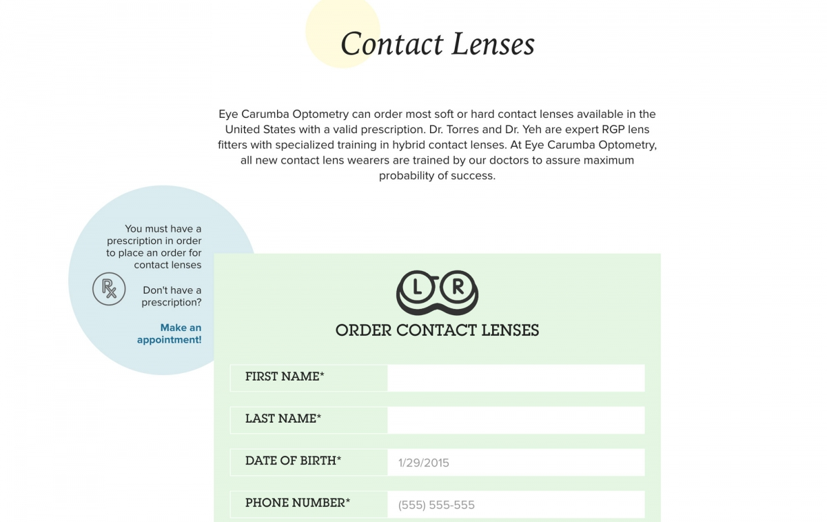 Screenshot of Eye Carumba website Contact Lens order form