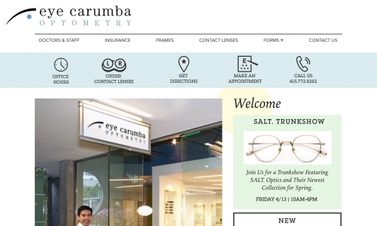 Screenshot of Eye Carumba website home page