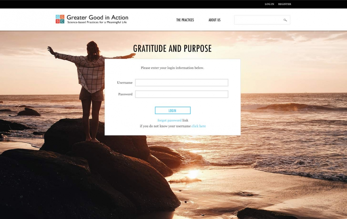 Screenshot of Gratitude and Purpose website home page