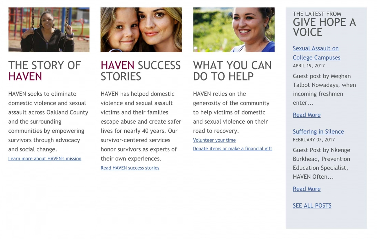 Screenshot of Haven website About page