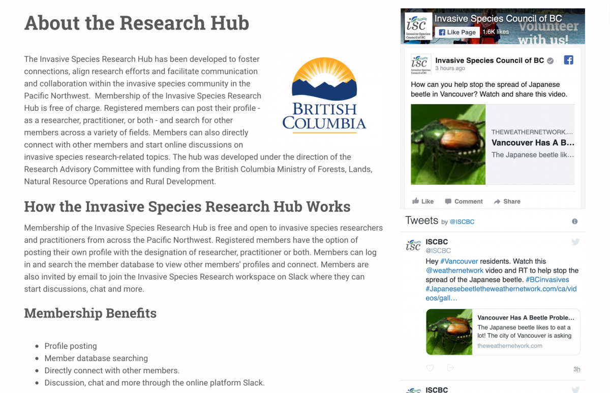 Screenshot of the ISCBC Website Research Hub About Page