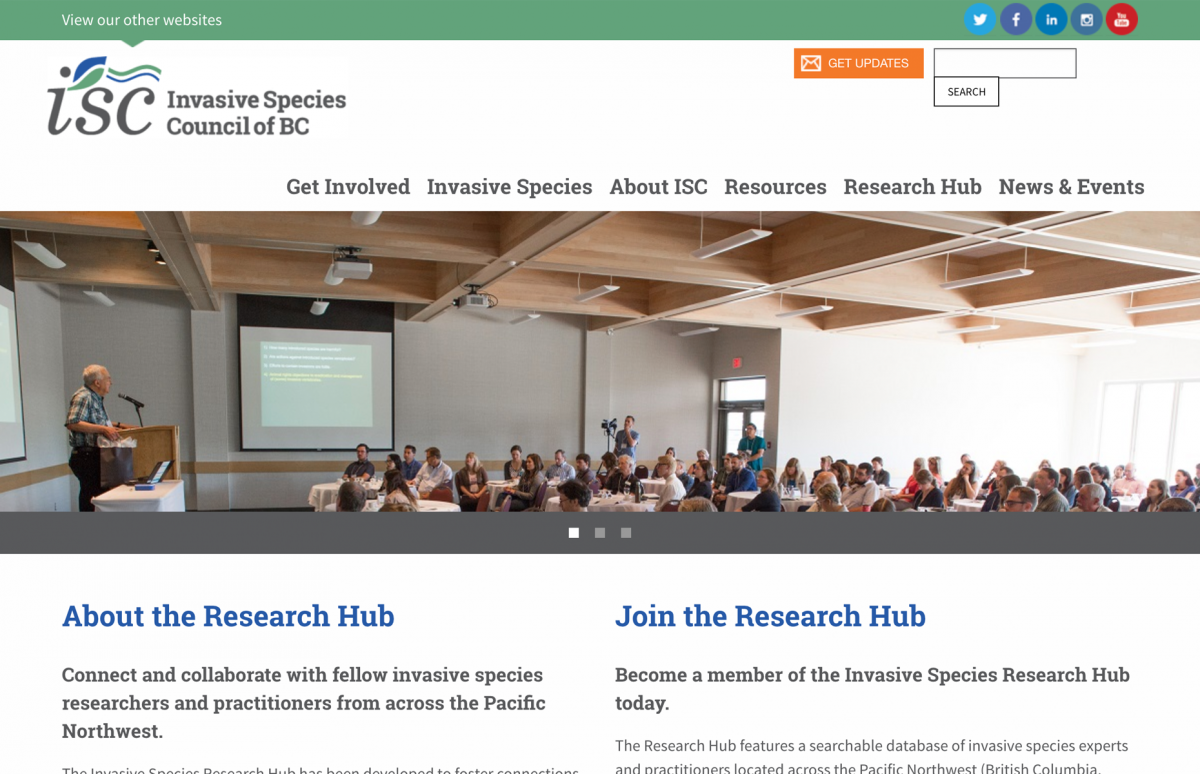 Screenshot of the ISCBC Website Research Hub Home
