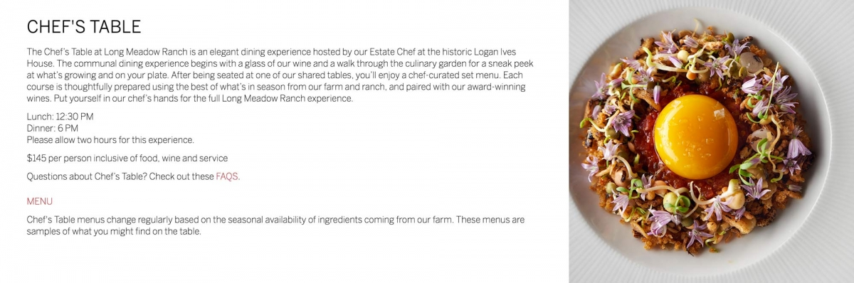 Long Meadow Ranch Events Chef's Table Screenshot