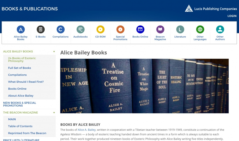 Screenshot of The Lucis Trust website Alice Bailey books page