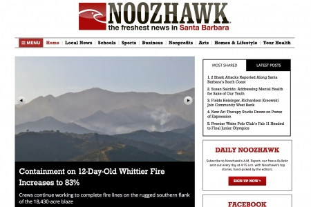 Screenshot of Noozhawk website home page