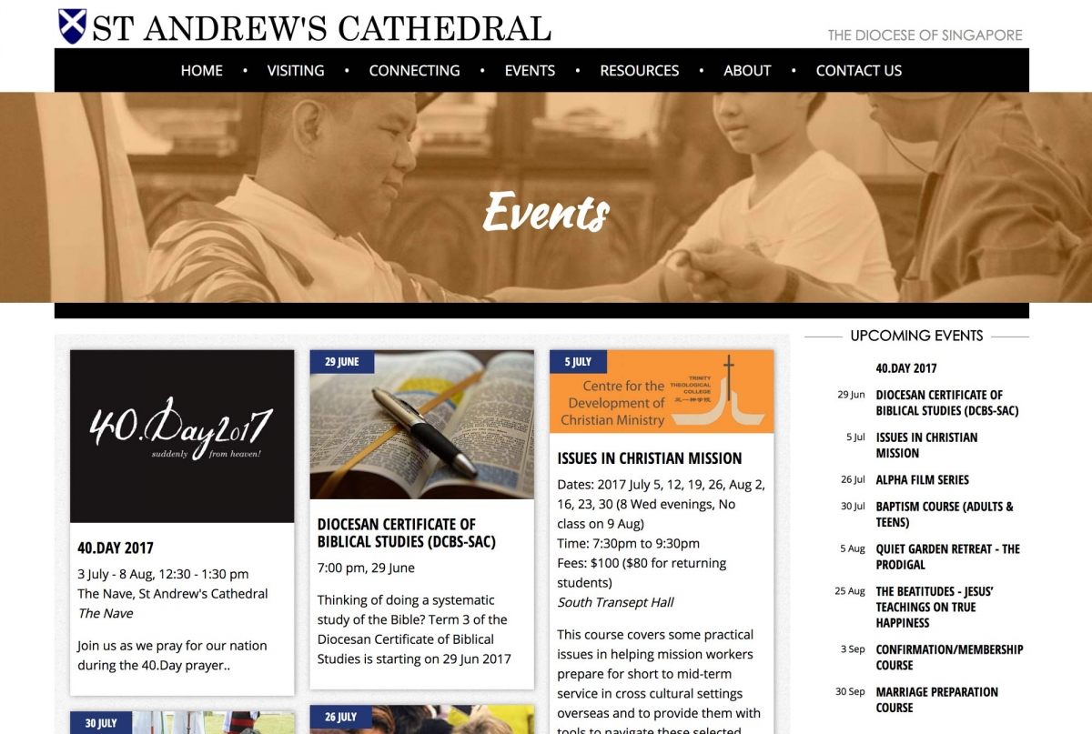 Screenshot of St. Andrew's Cathedral website Events page