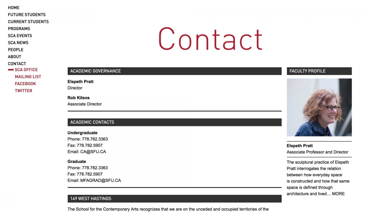 Screenshot of SFU website Contact page