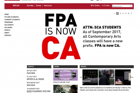 Screenshot of SFU website home page