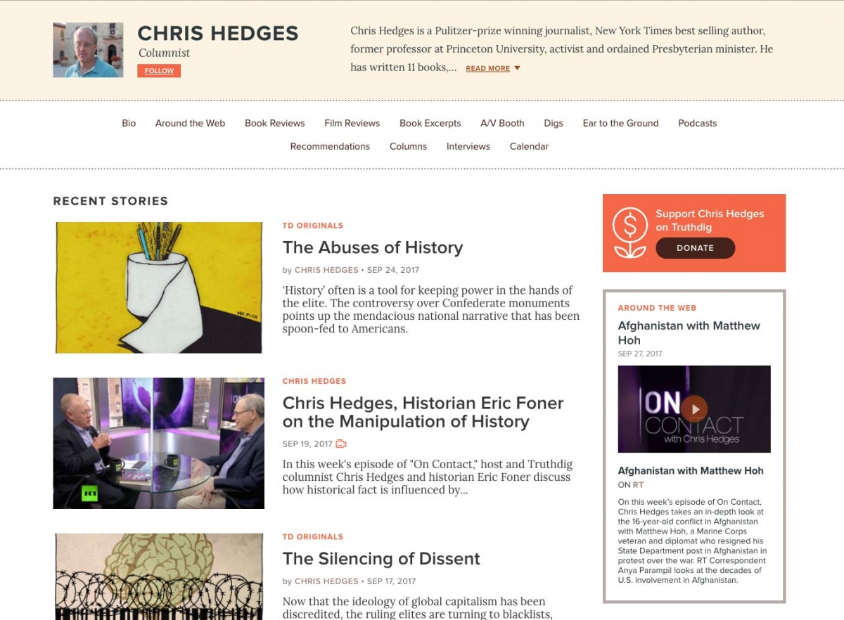 Screenshot of Truthdig website author page