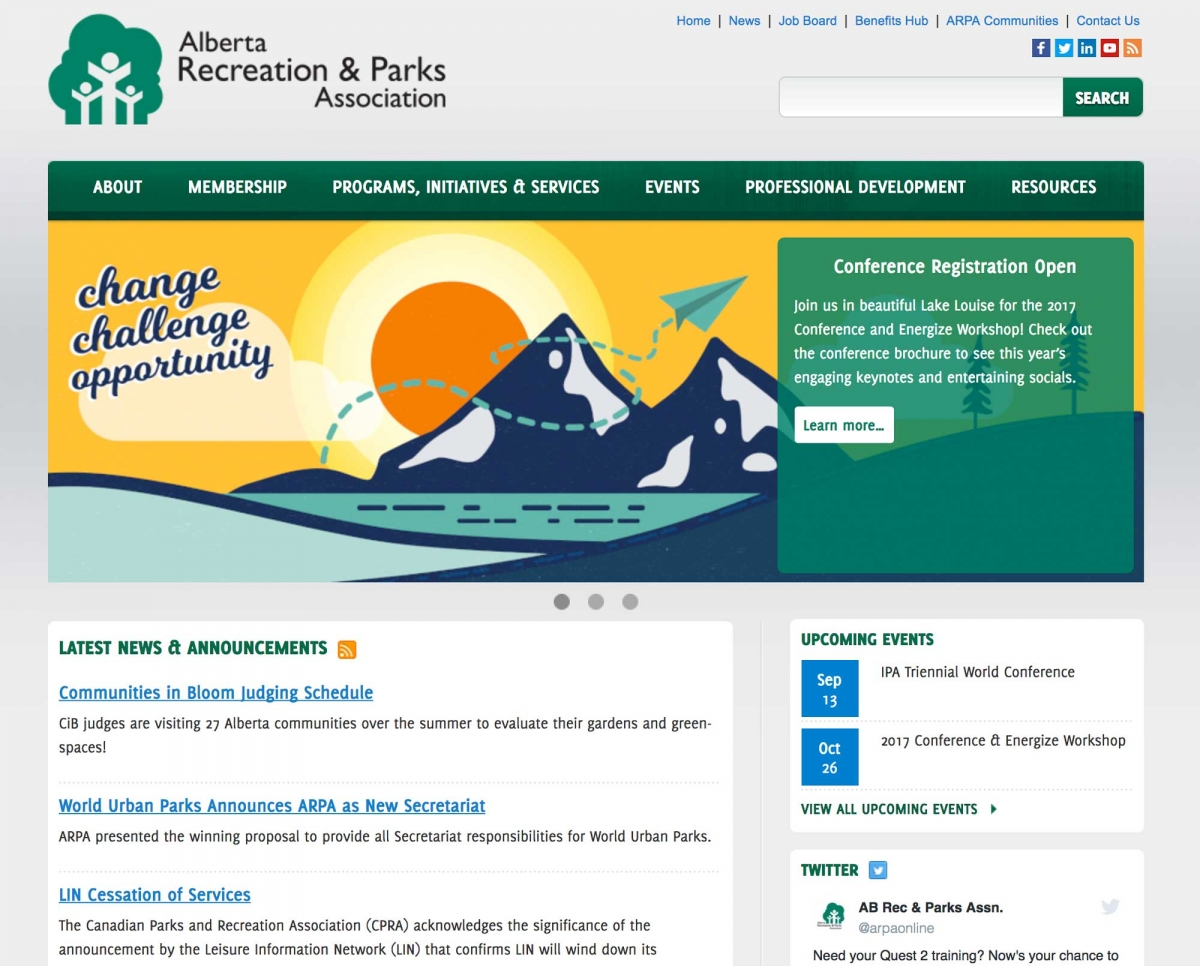 Screenshot of ARPA website home page