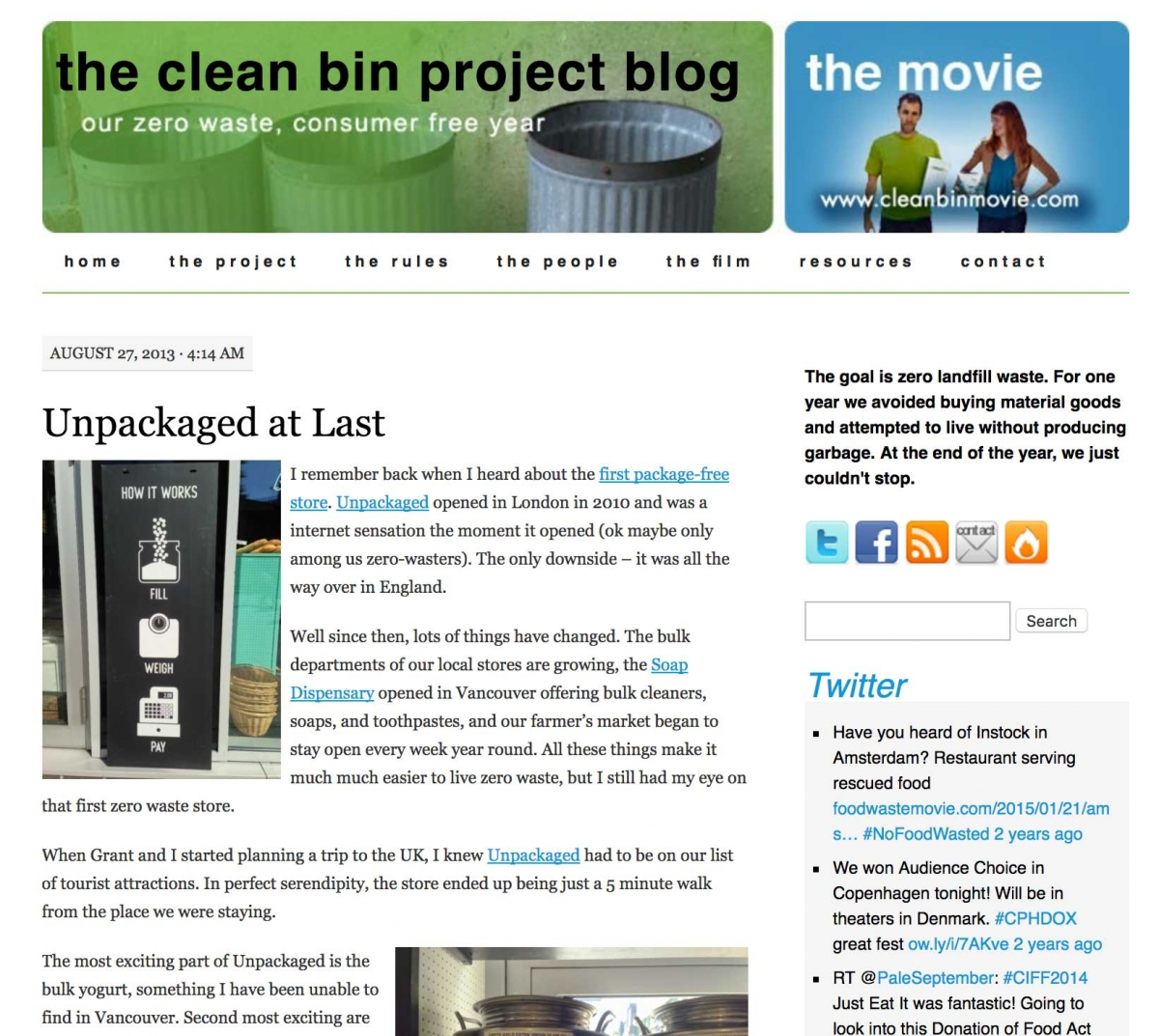Screenshot of Clean Bin Project website home page