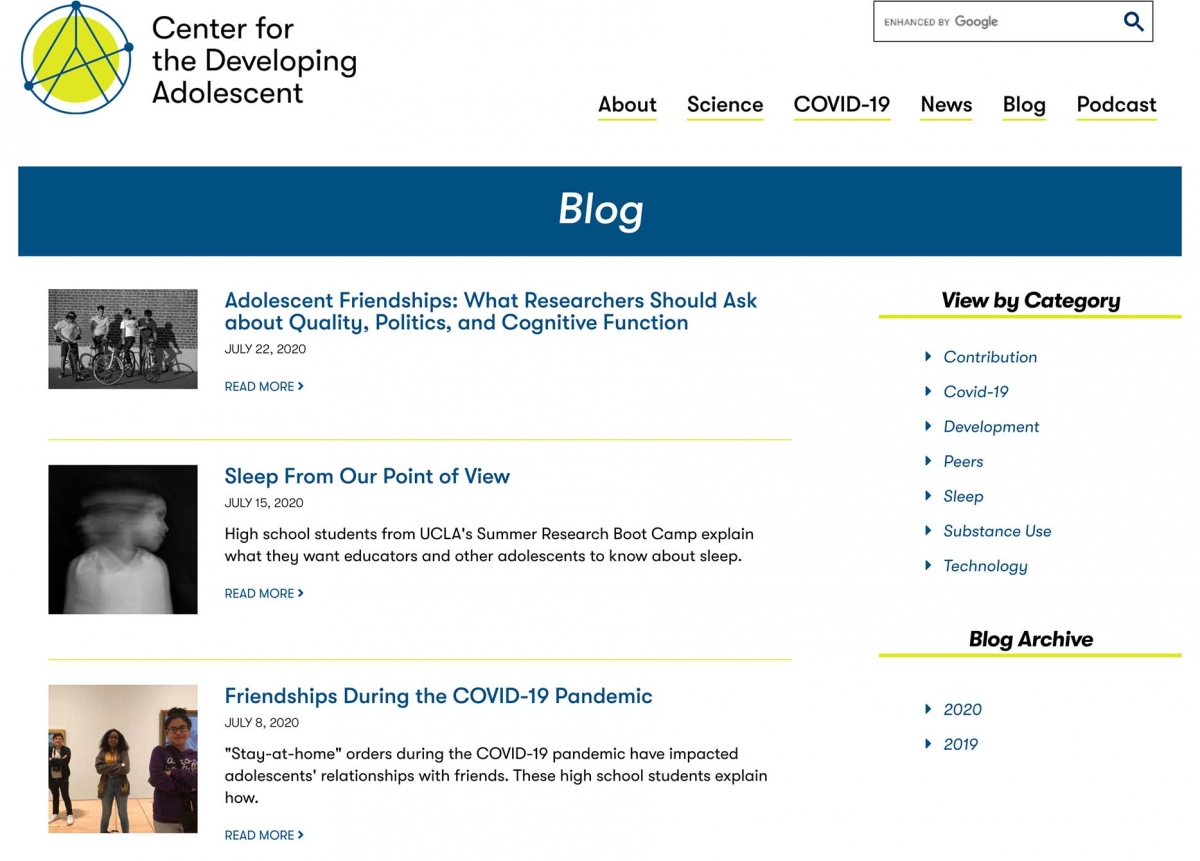 Screenshot of the CDA website blog page